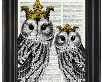 BOGO SALE Royal Owls I Dictionary Art Print Wall Art Print Upcycled HHP Original Design and Concept