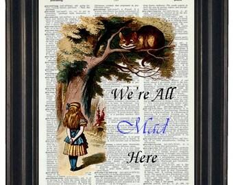 BOGO SALE Alice in Wonderland Vintage Dictionary Book Upcycled Art Page Print 8 x 10