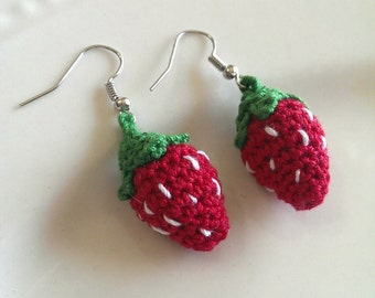 Tiny Strawberry Amigurumi Crocheted Earrings