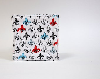 Coaster Fabric Coasters Set of 8 Reversible Fleur de Lys them  Merci Bonjour Set of 8 Reversible