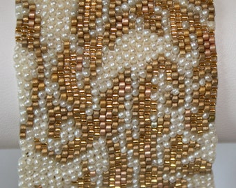 Seed Bead PATTERN ONLY for Peyote Stitch Gold and Pearl Bracelet