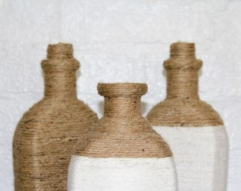 Nautical Home Decor Set of 3 Rope Wrapped Bottle Vases Rustic Brown Jute White Twine Seaside Chic Trendy Beach Cottage Decor Recycled