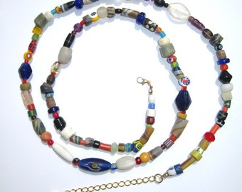 African trade bead Boho necklace