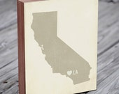 Los Angeles Art - Los Angeles Print - Los Angeles Map  - Wood Block Art Print