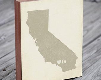 Los Angeles Art - Los Angeles Print - Los Angeles Map  - Wood Block Art Print