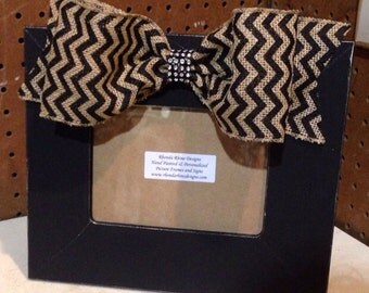 5x7 Frame with Chevron Burlap Jeweled Bow