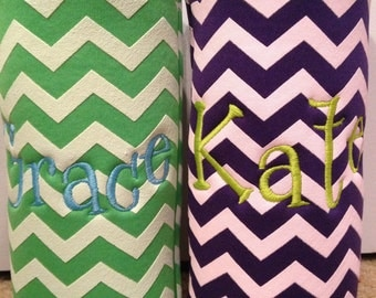 Monogrammed Custom Chevron Zig Zag pattern Water Bottle or Tall Boy Beverage Insulator 6 colors all instock --FAST TURNAROUND--