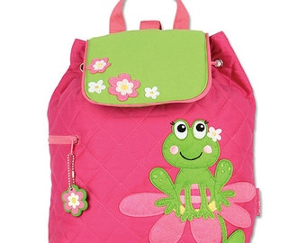SHIPS NEXT DAY--Personalized Monogrammed --New Pattern-- Stephen Joseph Kid Quilted Girl Frog Backpack--Free Monogramming--
