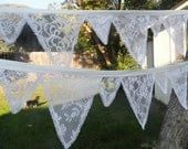 All Lace White Or Ivory Victorian Wedding Fabric Bunting 15 Ft Garland 2 Size Flags Banner