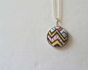 Love Story No.2 // Geometric Chevron Pendant, Illustrated Drawn Art Necklace, Original Pattern, Designer Fabric, Boho, Tribal, OOAK, Arrows