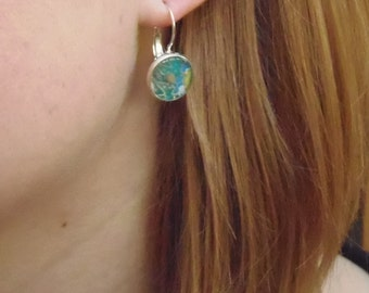Mustard Seed Paisley Blue French Hoop Earrings, Washi, Chiyogami, Yuzen Paper