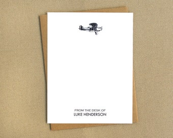 Vintage Inspired Airplane Personalized Stationery / Masculine Note Cards / Notecard Set with Old-Fashioned Airplane