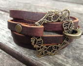 brass filigree leather wrap BRACELET