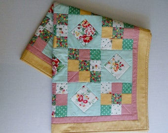 Baby Quilt, Baby Blanket, Quilted Table Topper, Table Quilt, Quilted Table Runner, Vintage Style, Cottage Chic