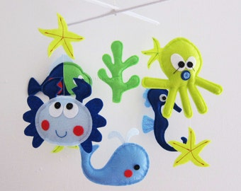"""Baby Mobile - Starfish Crib Mobile - """"Blue and Green Sea Critters""""  - Handmade Nursery Mobile (Match your bedding)"""