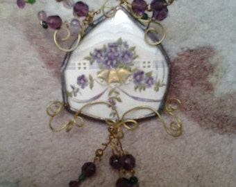 c1800s Sterling Beaded Valentine Card Pin Brooch Pendant w/Bells and Violets/Forget Me Nots