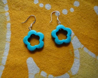 Carved Clover Turquoise Earrings Boho Charm