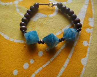 Blue Faceted Dragon Vein Agate Prayer Bead Bracelet Boho Hippie Mala