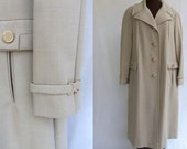 Vintage 60s Coat Tan Beige Taupe Outerwear Like New  Size L/XL