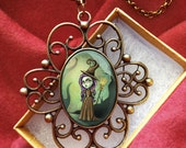 Wizard of Oz Pendant - Wicked Witch Steampunk Necklace - Antique Jewelry
