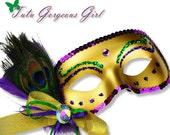 Peacock Mardi Gras Mask...Mardi Gras Halloween Costume, Masquerade Ball...Women, Girls, Toddler