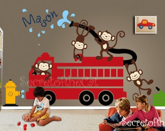 Nursery Wall Decal - Wall Decals Nursery - Firetruck Wall Decal - Monkeys Decals - Monogram
