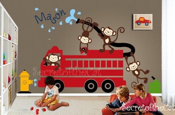 Nursery Wall Decal - Wall Decals Nursery - Firetruck Wall Decal - Monkeys Decals - Monogram