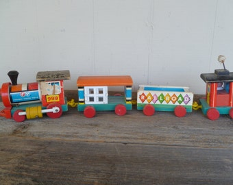 Fisher Price Huffy Puffy Train Engine Caboose