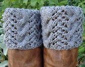 Boot Toppers-Heather Grey Cables & Lace