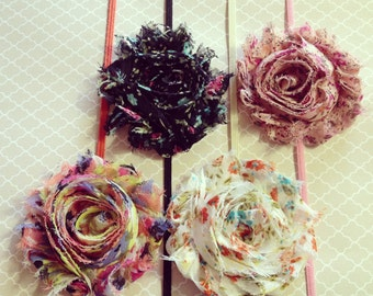 Floral Print Flower Headband: Shabby Chic Frayed Fabric Rose Skinny Elastic Headband, Choose Your Color and Mounting