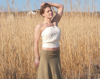 Foldover Yoga/Maxi Skirt with in Grass Green Cotton Jersey Knit for Spring and Summer  -- Made to Order
