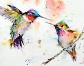 Set of 2 HUMMINGBIRD Watercolor Prints by Dean Crouser