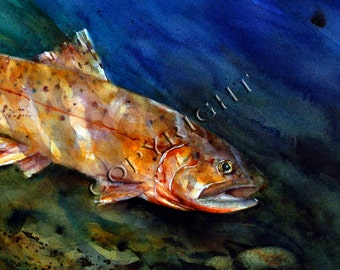 CUTTHROAT Trout Watercolor Print by Dean Crouser