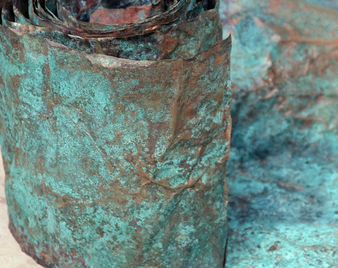 8in X 5ft Copper Sheeting - Gorgeous Green And Blue Patina, Copper Craft, Blue Green Copper, Bulk Copper Supply, Verdigris Patina, Weathered