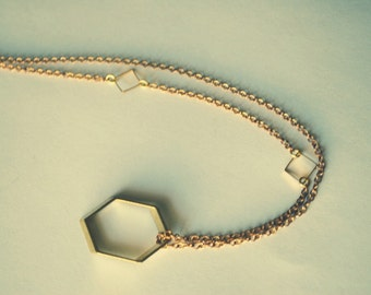 Geometrica Necklace...Vintage Raw Brass