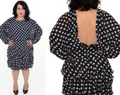 RESERVED ---------- polka dot dress - 80s vintage black and white short prom party cocktail retro ruffle open back - long batwing sleeves