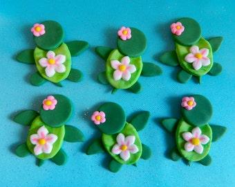 One dozen fondant cupcake toppers - Baby turtles