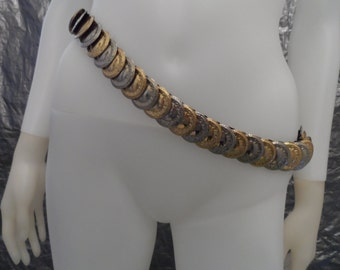 Vintage 70's Gypsy Gold/Silver Coin Belt  M/L