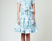 Floral dress, 50s dress, garden party dress, full skirt dress, plus size dress by Mrs Pomeranz