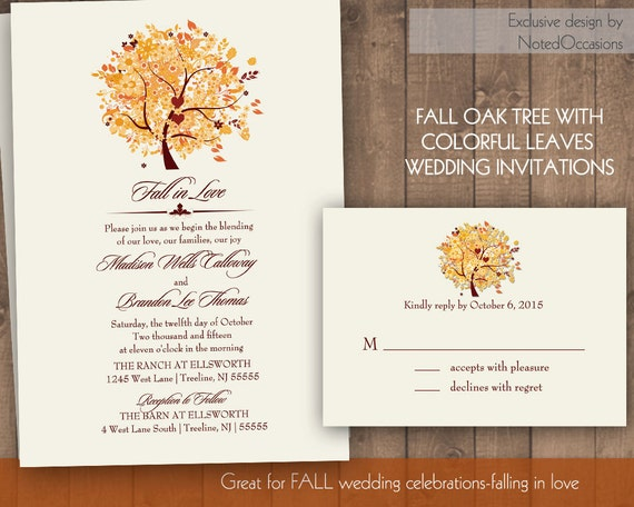 Diy Autumn Wedding Invitations: Rustic Fall Tree Wedding Invitations Set Printable