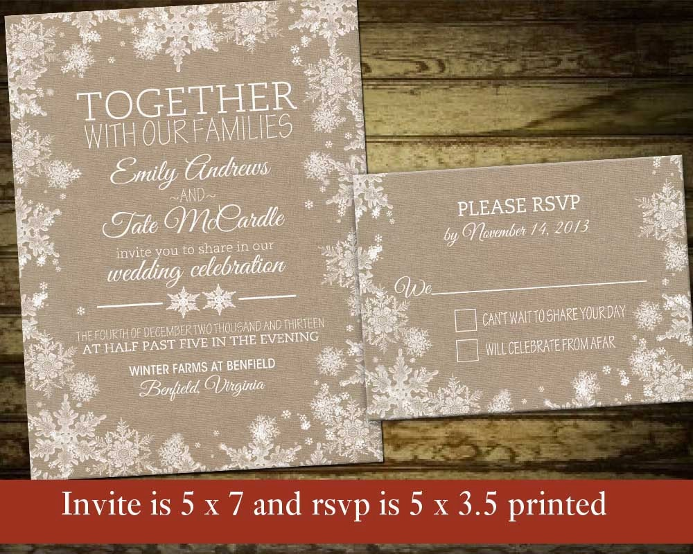 Rustic Winter Wedding Invitations: Kitchen & Dining