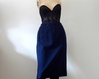 1950s-60s Pencil Skirt / navy blue wool wiggle skirt / classic vintage fashion