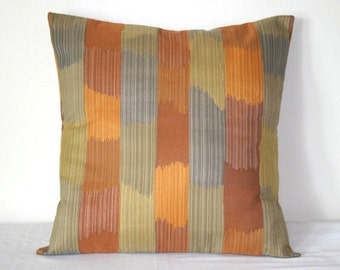 Orange Gold Gray Striped Geometric 18 inch Decorative Pillow Accent Pillows Throw Pillow Cushion Cover