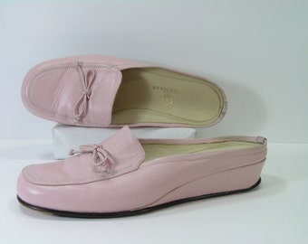 pink shoes womens 7 B M cole haan  mary jane slippers slides leather summer fashion