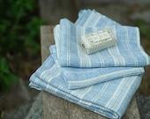 Linen Bath Towel Blue White