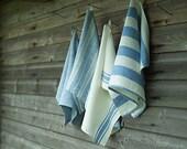 x4 Hand Towels Blue Linen Striped
