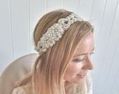 Bridal headpiece, Beaded crystal bridal halo, side crystal hairpiece, bridal headwrap, wedding headpiece  - DELIA Delux II