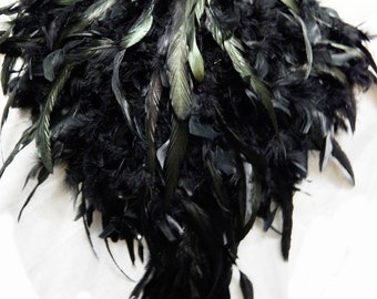 Black Raven Feather Exotic FEATHER Bustle Fantail Booty Shorts  Festival Stage Burlesque Made 4U