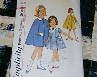 "Vintage 1964 Simplicity Pattern 5477 Girl's Dress and Cape Size 6, Breast 24"", Waist 22"""