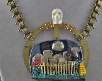 Industrial Art Jewelry Cemetary Necklace Skull Tombstones Moon Crow Gear